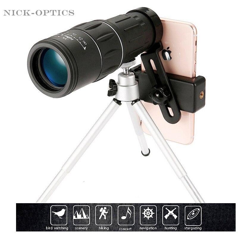 16X52 telescopio de actualización HD Monocular de mano para senderismo al aire libre con soporte de teléfono inteligente Universal y trípode reloj de fútbol