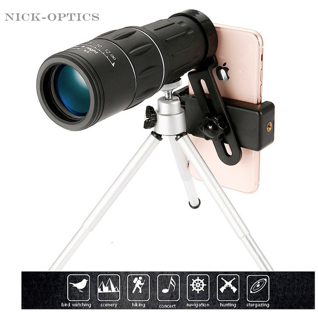 16X52 upgrade Telescope HD Monocular Handheld scope for Outdoor Hiking with Universal smart phone holder and tripod Watch soccer