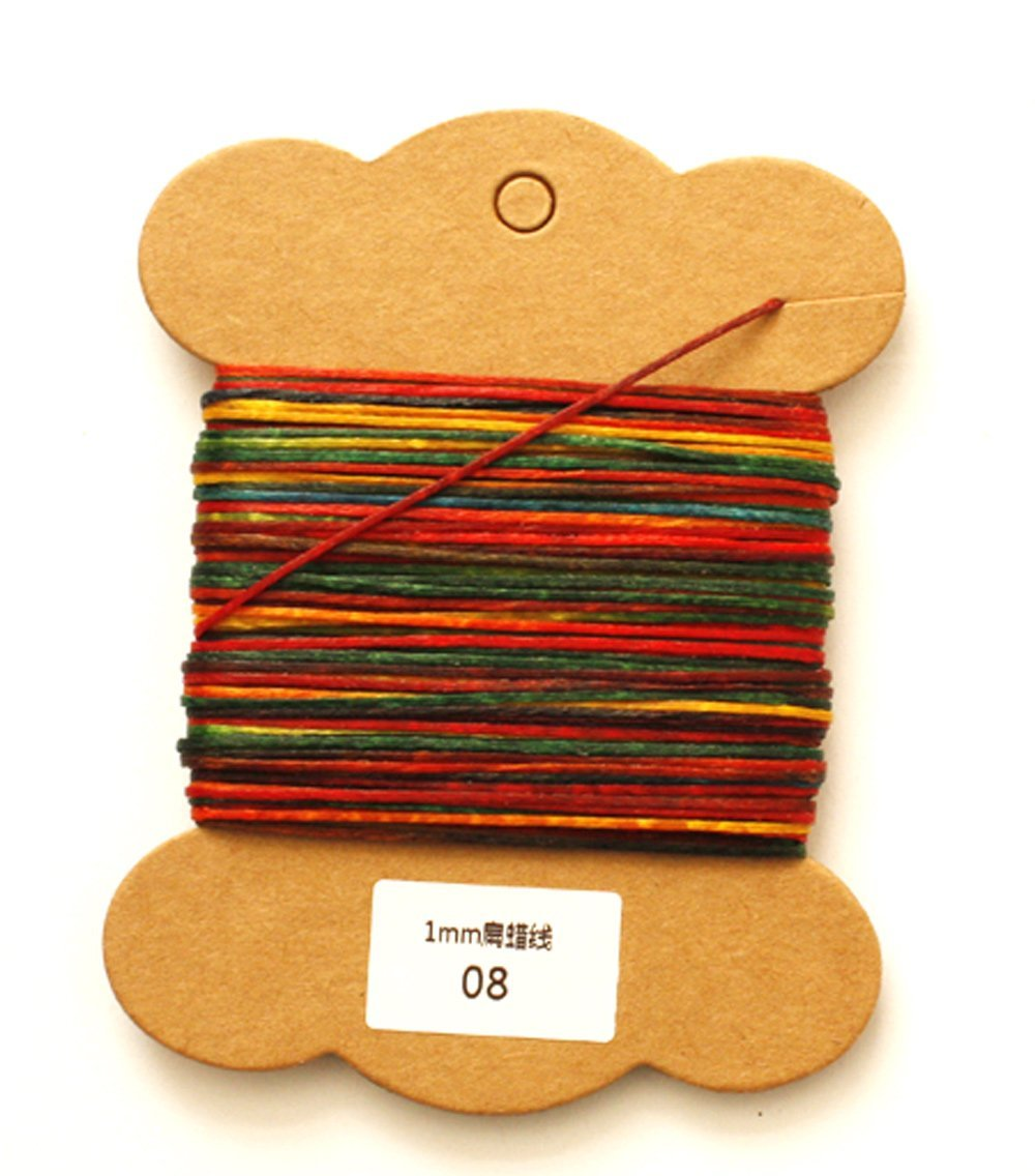 Passion Junetree multi color Leather Craft Heavy Duty Waxed Thread Sewing Waxed Thread 1mm Leather Hand Stitching 30 meters