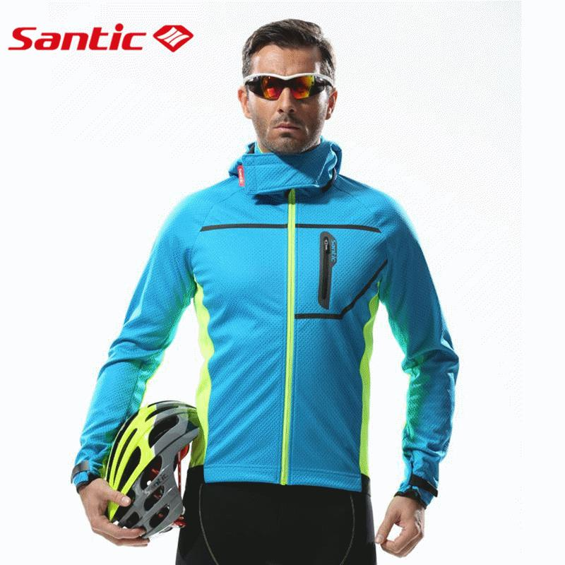 Santic Mens Thermal Hooded Winter Fleece Jacket Windproof Cycling Jacket Breathable Windbreaker Downhill MTB Bicycle Bike Jacket 2017 santic mens breathable cycling jerseys winter fleece thermal mtb road bike jacket windproof warm quick dry bicycle clothing