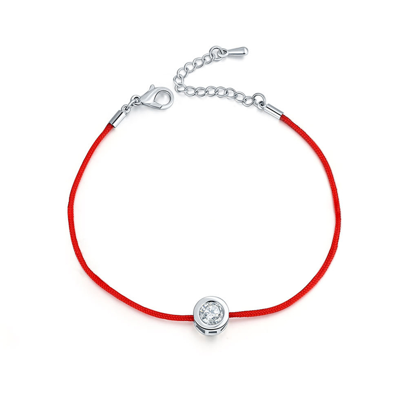 9 Colors Choose Red Rope Bracelet Round 6mm Cubic Zircon Charm Friendship Bracelets For Women Wedding Party Jewelry Gift
