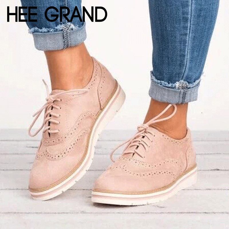 цены HEE GRAND Rubber Brogue Shoes Woman Platform Oxfords British Style Creepers Cut-Outs Flat Casual Women Shoes 5 Colors XWD6990