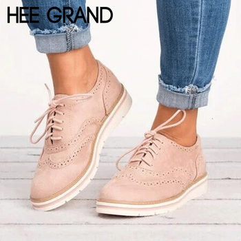 59ada3ef371924 Find Deals HEE GRAND Rubber Brogue Shoes Woman Platform Oxfords British  Style Creepers Cut-Outs Flat Casual Women Shoes 5 Colors XWD6990