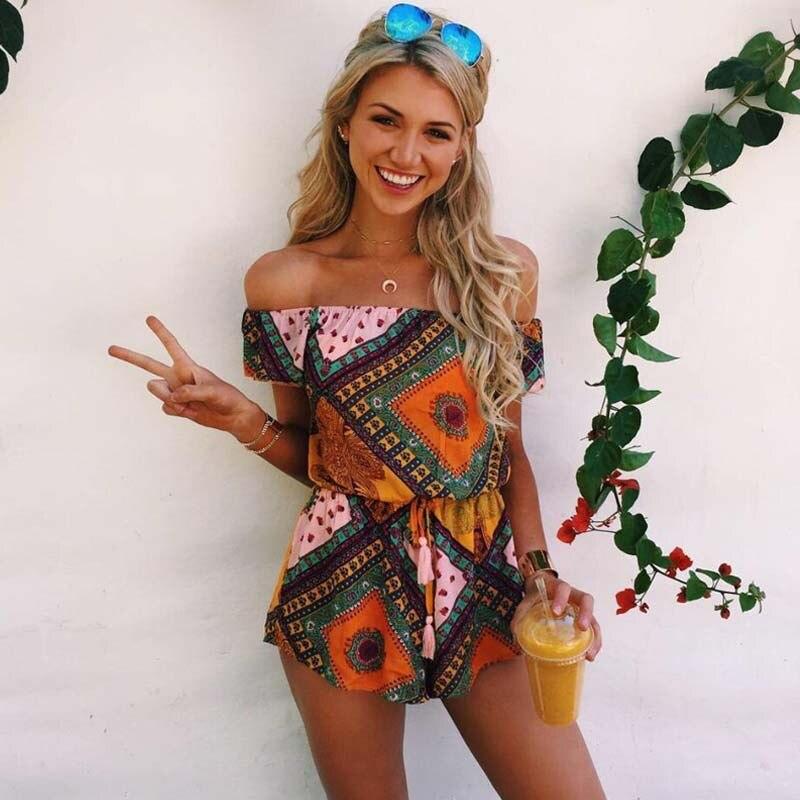 2018 New Fashion Casual Vintage Women Jumpsuit Plaid Print Sexy Slash Neck Short Sleeve Jumpsuit Summer Beach Rompers