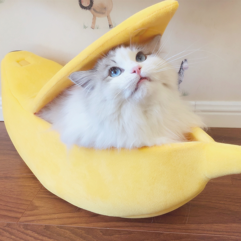 [MPK Katze Betten] Banana Peel Katze Haus, Niedlich Suchen Banana Bett für Katzen und Kätzchen