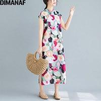 DIMANAF Plus Size Summer Women Dress Cotton Female Vestidos Floral Print Beading Sundress Loose Elegant Linen Long Dress 2019