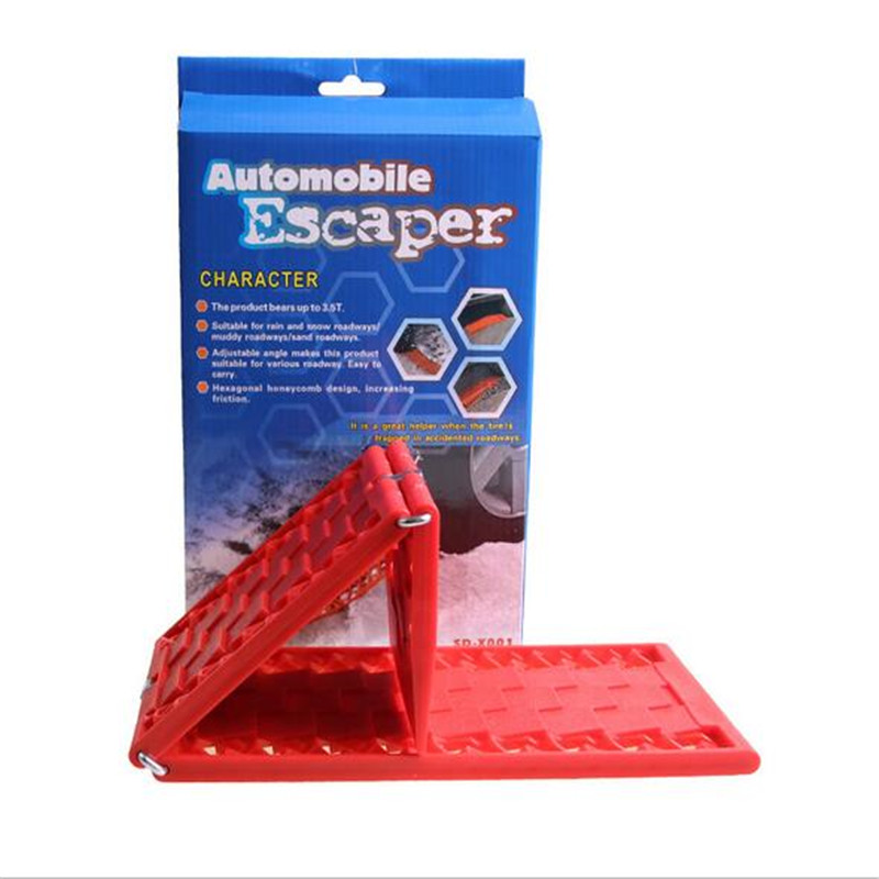 2pcs/lot Foldable Tyre Grip Tracks Snow Mud Sand Escape Mat Plate Chains Cars Emergency Escaper For Car Road Trouble Clearer Special Summer Sale