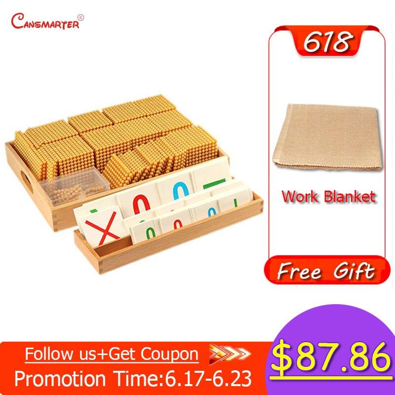 Jouets éducatifs hêtre bois perles d'or matériaux jeu Montessori calcul nombre comptage jouet préscolaire 3-6 ans MA164-3 - 2