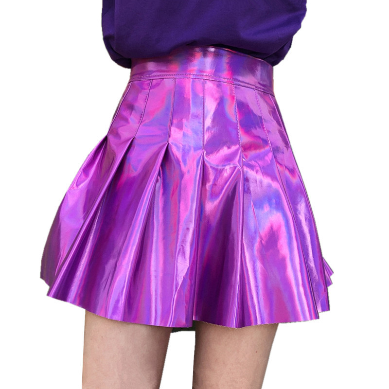 Mini Pleated Skirt 2018 Japanese Soft Sister Harajuku glossy fluorescent color laser high waist PU leather skirt Steampunk