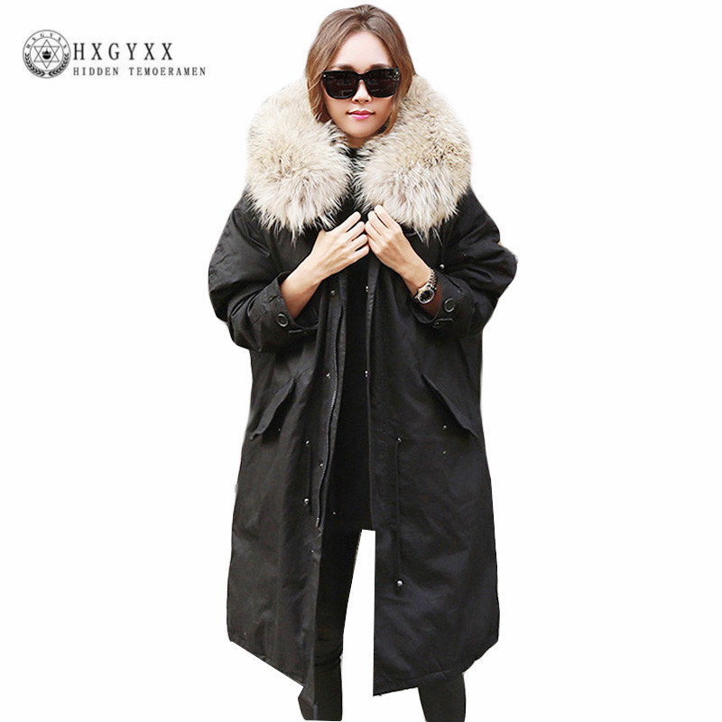 Oversize Winter Jacket Women 2017 Military Parka Raccoon Fur Fashion Quilted Jackets Warm Coats Plus Size Cotton Clothing OKB222