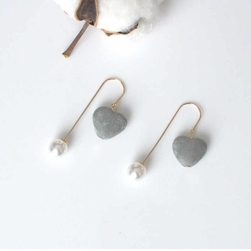 Moda damska kolczyki 2019 suede 3D miłość długie kolczyki perłowe retro okrągłe kolczyki z długimi wisiorkami dwustronne kolczyki