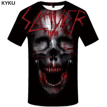 KYKU Skull Tshirt Men Black Blood T-shirt Anime Clothes Punk Rock War Print T Shirt 3d Hip Hop Mens Clothing Summer Streetwear цены