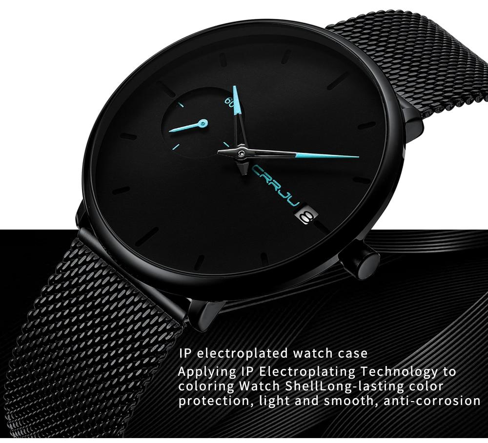 Crrju Sports Date Mens Watches Top Brand Luxury Waterproof Sport Watch Men Ultra Thin Dial Quartz Watch Casual Relogio Masculino 13