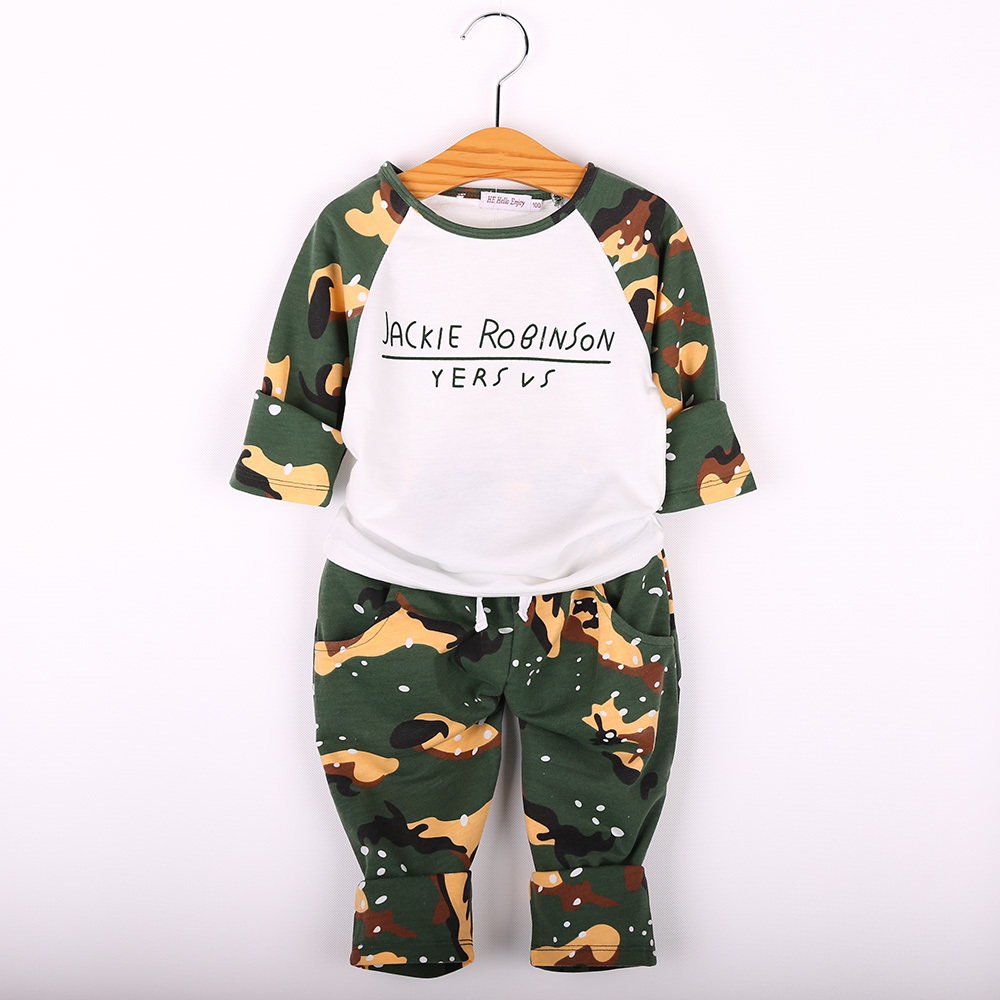 Kids Clothes Boys Set 2017 Autumn Winter boys clothing set Printing long sleeve tops  + camouflage pant 2pcs tracksuit for girl kids clothes boys set 2017 autumn winter boys clothing set printing long sleeve tops camouflage pant 2pcs tracksuit for girl