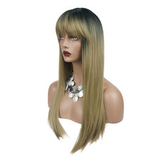 StrongBeauty Womens Synthetic Wigs Ombre Silver gray/Blonde Hair Long Straight Neat Bang Style Natura