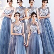 Новое поступление кружева синий Bridemaid платья 2019 Длинные Формальные Свадебные Вечерние Выпускные платья robe de soiree vestido de noiva