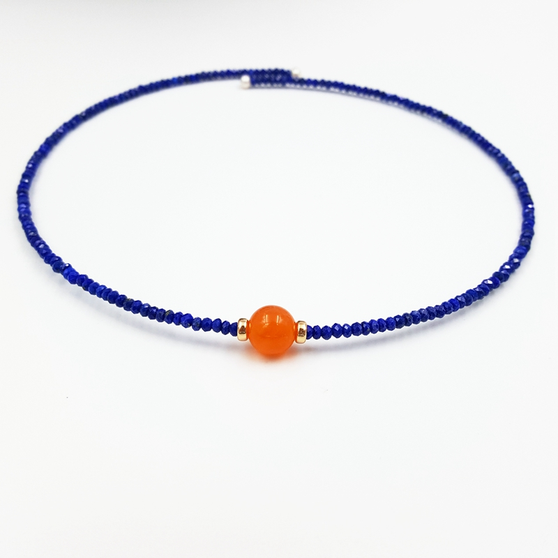 LiiJi Einzigartige Natürliche Lapis Lazuli 2x3mm Karneol Süßwasser Perle mit 925 Sterling Silber Gold Farbe Halsband Neckalce-in Choker Halsketten aus Schmuck und Accessoires bei  Gruppe 2