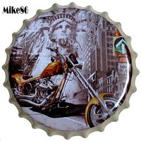 [ Mike86 ] NEW YORK Motor Vintage Bottle Cap Metal Painting Retro tin sign Pub Family Gift HOT Home Hall Decor 40 CM BG 56