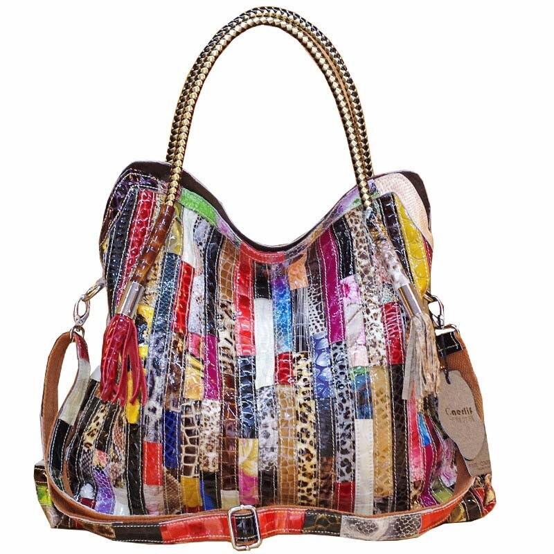 Bolsos de mano de cuero genuino de serpentina para Mujer nueva moda bolsas de mensajero de diseñador de marcas de lujo bolsas de hombro de Mujer calientes-in Cubos from Maletas y bolsas    1