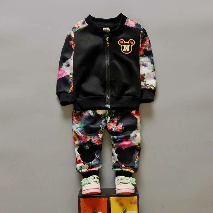 Chidren Enfants Garçons Filles Vêtements Set Automne Printemps 2 Pièce Ensembles Zipper Manteau + Fleur Pantalon Costumes Bébé Garçons Vêtements Mickey 2018