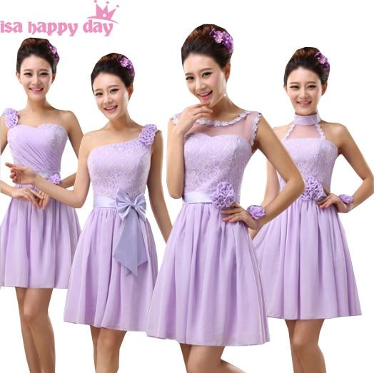 cf69cf028d0 2019 vestidos de dama de honor púrpura de chifón lila de moda para damas de honor  vestidos de damas de honor para Mujer Vestidos cortos sin mangas B3781 en  ...