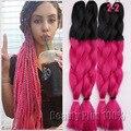 "Ombre Braiding Hair 24""Crochet Hair Extensions 100g Two Tone Jumbo Braid Hair For Women Highlights crochet Braiding Hair Jumbo"