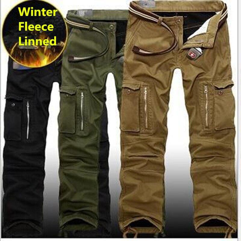 29-40 grande taille hommes Cargo pantalon hiver épais chaud randonnée pantalon pleine longueur Multi poche décontracté militaire Baggy tactique pantalon