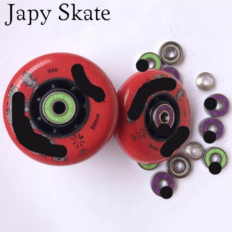 Jus Japy Skate D'origine Rue De Patinage Roues 8 pièces Avec Roulements 84A Rouleau FSK Slalom Patins Patines Roue avec ILQ-9 ILQ-11