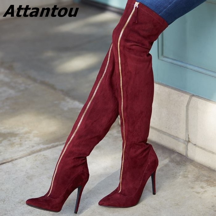 Glamorous Burgundy Suede Zip Decorated Thigh High Boots Women Sexy Slim Fit Pointy Stiletto Heel Over Knee High Boots jialuowei women sexy fashion shoes lace up knee high thin high heel platform thigh high boots pointed stiletto zip leather boots
