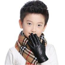 Inverno Aquecimento Luvas grossas Para crianças Tipo Pesado de Couro Real de Couro Genuíno Bonito Luvas 2019 novas luvas de couro reais