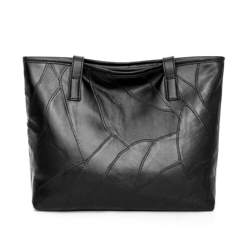 Casual Genuine Leather Tote Handbag Women Sheepskin Patchwork Shoulder Bag