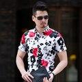 Alta Qualidade Mens Casual Shirt 2017 Nova Turn Down Collar Social camisa Dos Homens Slim Fit Manga Curta Floral Negócio Camisa Masculina 7XL-M