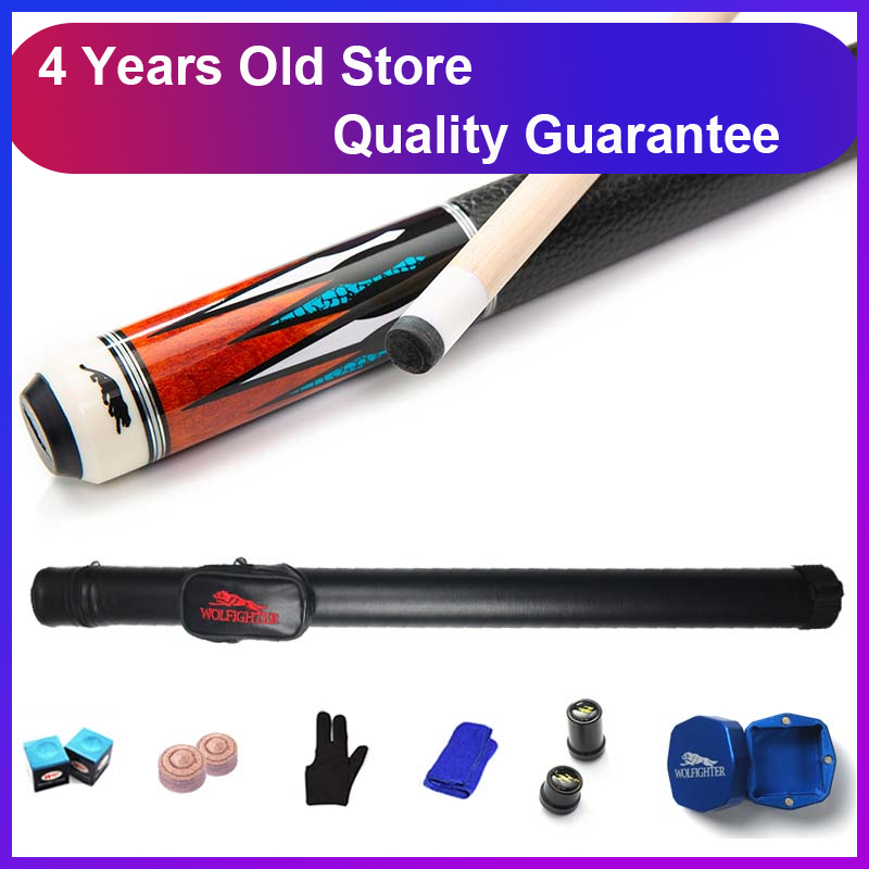 WOLFIGHTER 8K4 Billiard Pool Cues Stick 11.5mm 12.75mm Tip 8 Pieces Wood Laminated Technology Shaft Pool Cue Case,Chalk Holder Кий