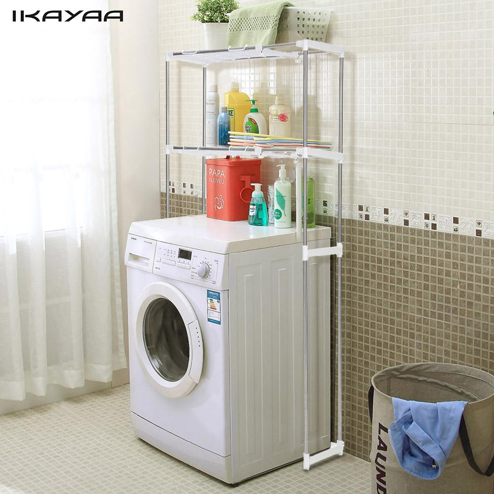 Ikayaa Steel 2 Layer Metal Bathroom Space Saver Over Toilet Width Extendable Bath Cabinet