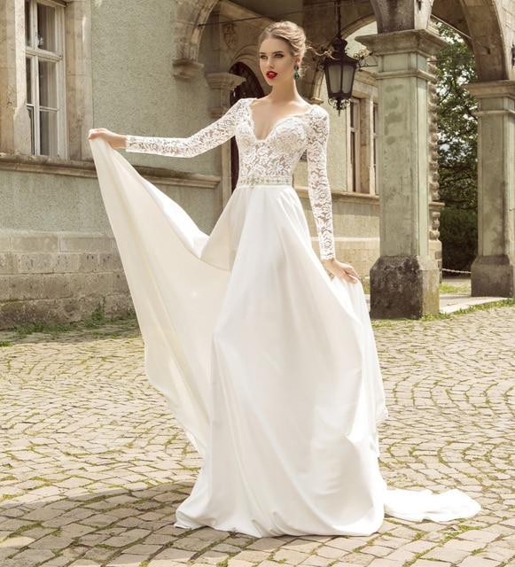 Buy stunning deep v neck long sleeve for Long sleeve sheer wedding dresses