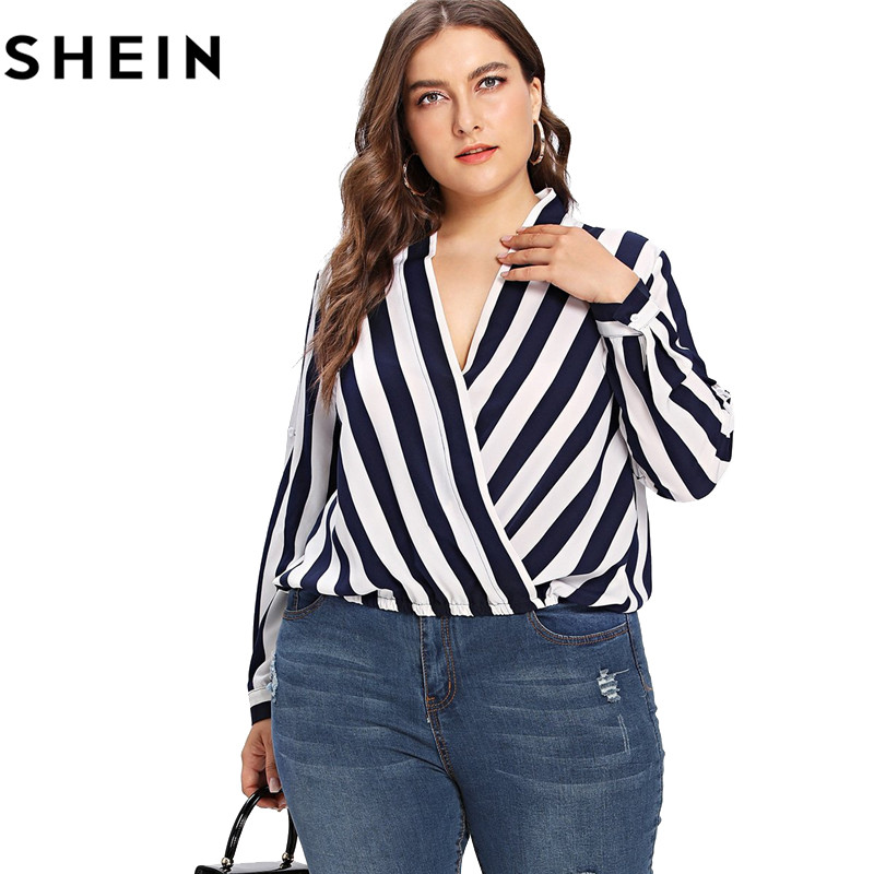 765120396969 SHEIN Striped Long Sleeve V Neck Plus Size Women Blouse 2018 New Office  Lady Spring Fall Roll Up Sleeve Surplice Wrap Tops