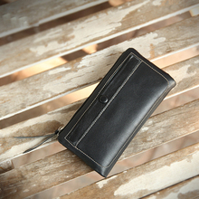 YIFANGZHE Men Long wallet, Genuine Leather Multi-Card Long Style Purse Slim and Light weight (Black) недорого