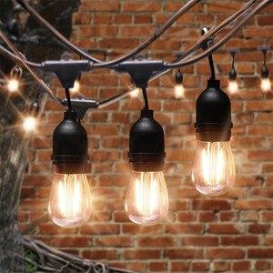 Image 2 - BEIAIDI مقاوم للماء S14 سلسلة أضواء E27 الرجعية لمبة اديسون بفتيل في الهواء الطلق شارع حديقة فناء عطلة الإضاءة جارلاند AC220V