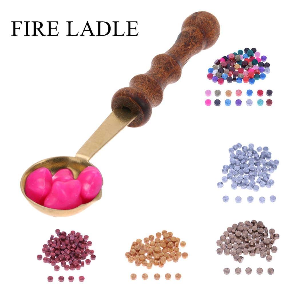 2017 New Arrival New Fashion Vintage Wood Handle Anti-hot Stamp Seal Sealing Wax Brass Spoon With High Quality Hot Sale#30 Home & Garden