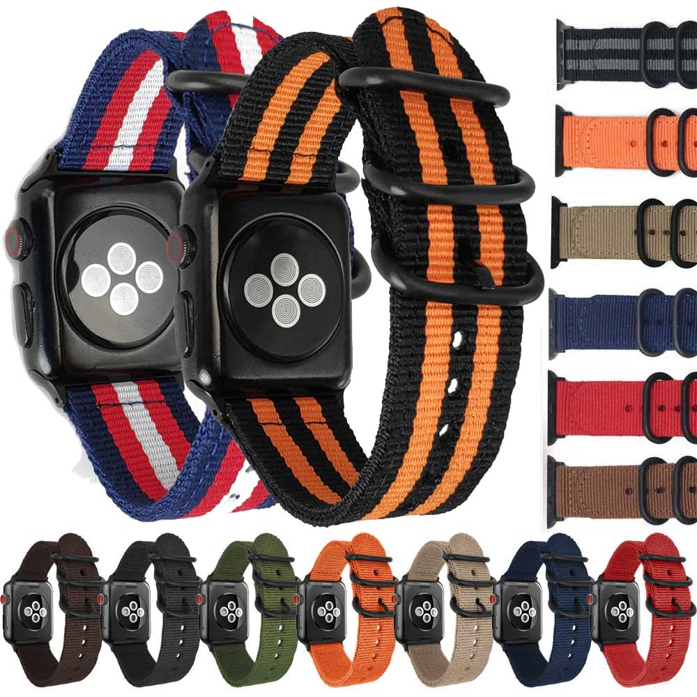 NATO Nylon Watch strap for Apple Watch band nylon 42mm iWatch 4/3/2/1 Strap 38mm with Zulu Rings Buckle and Adapters Watchbands nato nylon watchbands for apple watch band 42mm 38mm iwatch strap series 1