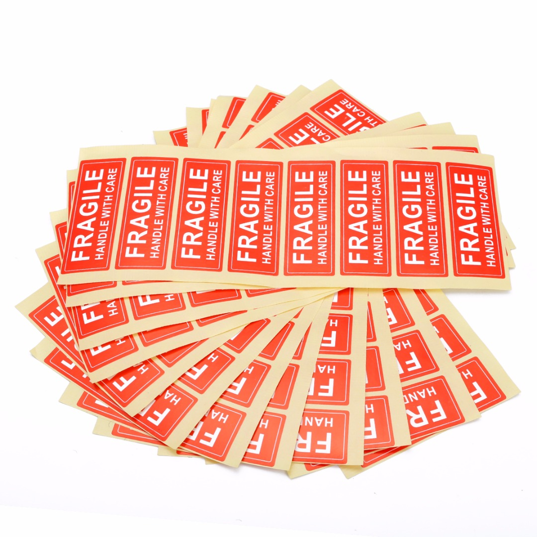 100pcs Fragile Warning Label Sticker Up And Handle With Care Label Warning Stickers 75*25mm