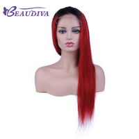 Beaudiva Lace Front Human Hair Wigs Pre Plucked Straight Full End Brazilian Remy Hair T1B RED