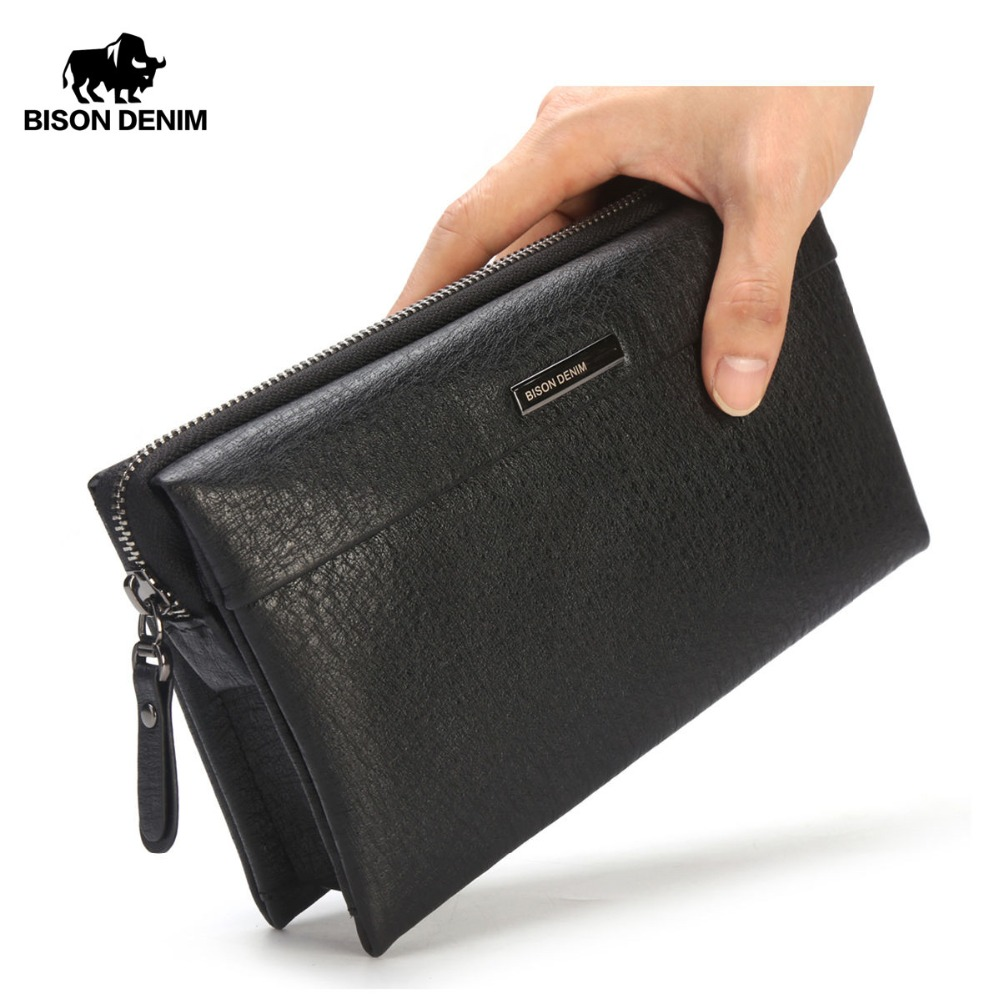BISON DENIM Luxury Men Wallet Zipper Closed Long Purse Clutch Business Genuine Leather Clutch Bag Cowskin