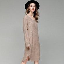 SMTZZJ 2018 Luxury Casual V neck Knitted Sweater Dress Thin Women Cotton Loose Bodycon Dress Pullover Female Autumn Spring Dress