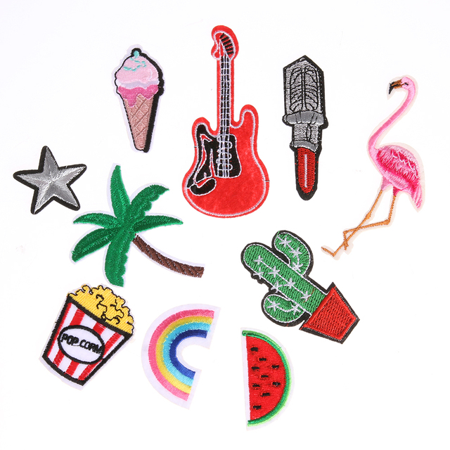 10pcs mixed applique embroidered patch sticker iron on sew cloth patch diy handwork sewing patch different