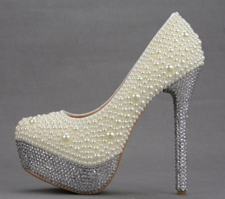 Luxe perles cristal ivoire mariage chaussures mariée cérémonie NQ120 haute qualité plates-formes à talons 14 cm 11 cm 8ccm dame fête pompe