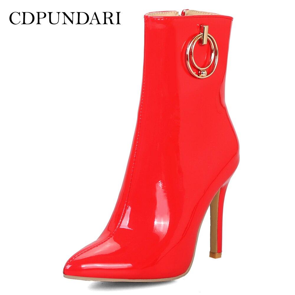 Alto Sexy Botas Las Puntiaguda Rojo blanco De rojo Zapatos Para Mujer Negro Tacón Mujeres Cdpundari Tobillo Negro Blanco Invierno dxzSXqwd
