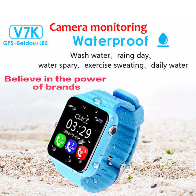 Q100 v7k gps smart watch crianças relógio inteligente à prova d' água do bebê com Chamada SOS Localização Rastreador Dispositivo Anti-Perdido Do Monitor da câmera PK Q90