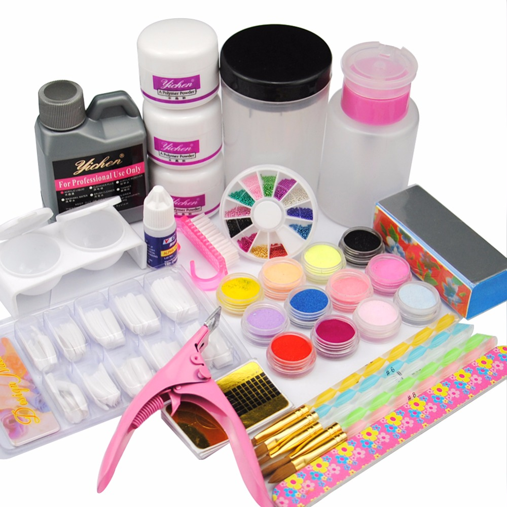Acrylic Nail Set Acrylic Liquid Powder Nail Art Tools DIY Kit Pen Dappen Dish False Nail Tips Brush Holder Glue Tools