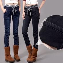 Плотные теплые женские джинсы-шаровары, женские повседневные брюки больших размеров XXXXL